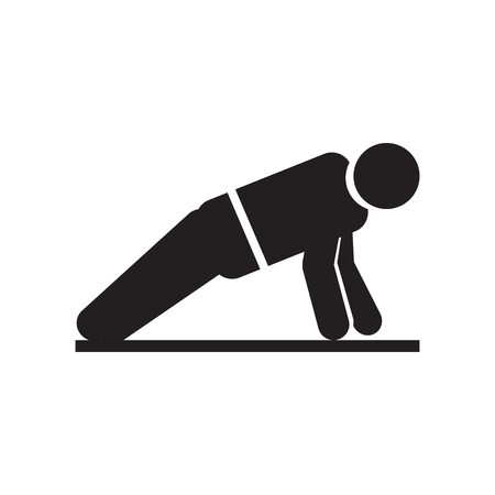 Man doing pushups icon vector isolated on white background for your web and mobile app design, Man doing pushups logo concept Stock Illustratie