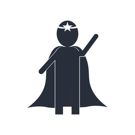 Superheld-Symbolvektor lokalisiert auf weißem Hintergrund für Ihr Web- und Mobilanwendungsdesign, Superhelden-Logo-Konzept