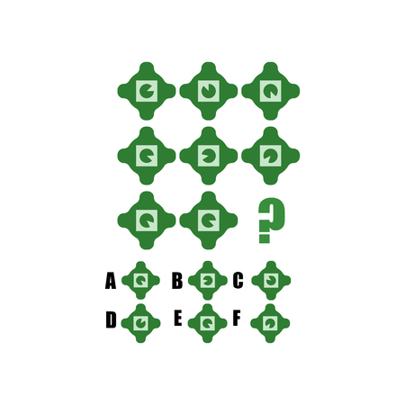 IQ test. Choose correct answer. Logical task, educational game for kids. development of logic, iq. Task game what comes next, Vector illustration