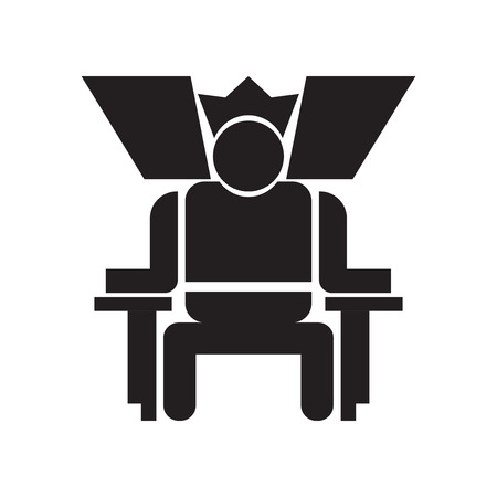 King in his throne icon vector isolated on white background for your web and mobile app design, King in his throne logo concept