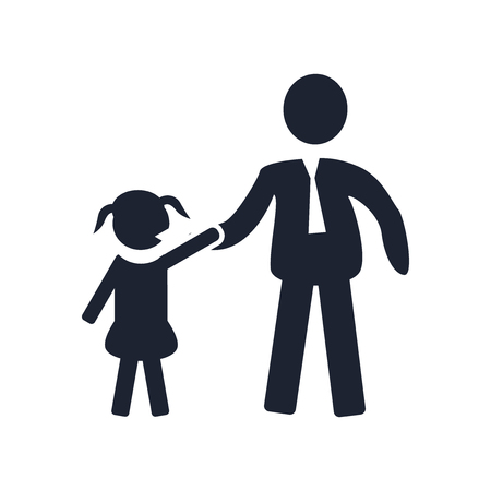 Father and Daughter icon vector isolated on white background for your web and mobile app design, Father and Daughter logo concept