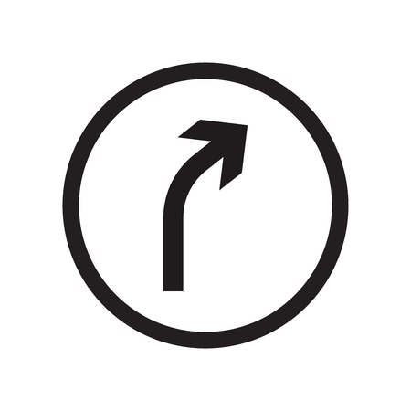 Right curve sign icon vector isolated on white background for your web and mobile app design, Right curve sign logo concept Illustration
