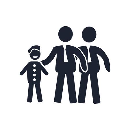 Vector icono de familia gay aislado sobre fondo blanco para su diseño web y aplicaciones móviles, concepto de logo de familia gay