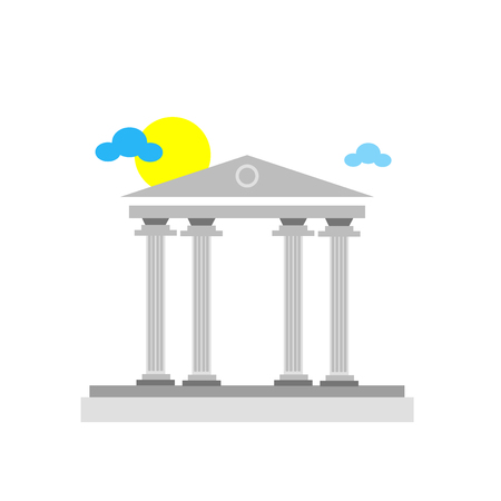 Pantheon icon isolated with sun and clouds