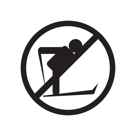 No Skiing icon vector isolated on white background for your web and mobile app design, No Skiing logo concept Illustration