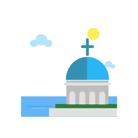 Blue domed church icon vector isolated on white background for your web and mobile app design, Blue domed church logo concept