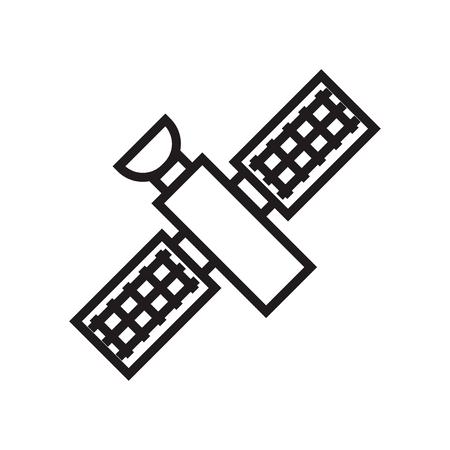 Satellitensymbolvektor lokalisiert auf weißem Hintergrund für Ihr Web- und Mobilanwendungsdesign, Satellitenlogokonzept Logo