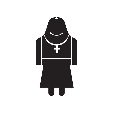 Nun icon vector isolated on white background for your web and mobile app design, Nun logo concept Vectores