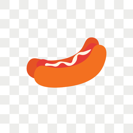 Hot dog vector icon isolated on transparent background, Hot dog logo concept  イラスト・ベクター素材
