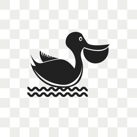 Pelican vector icon isolated on transparent background, Pelican logo concept Illustration