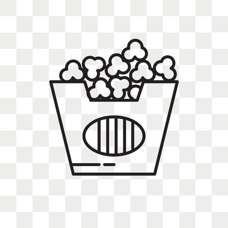 Icona di vettore di popcorn isolato su sfondo trasparente, concetto di marchio di popcorn Vettoriali