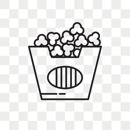 Popcorn vector icon isolated on transparent background, Popcorn logo concept Illustration