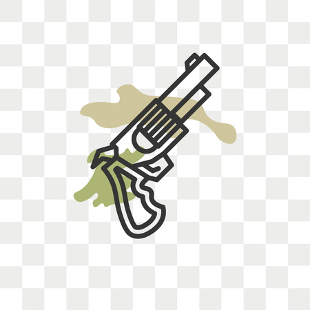 Pistol vector icon isolated on transparent background, Pistol logo concept