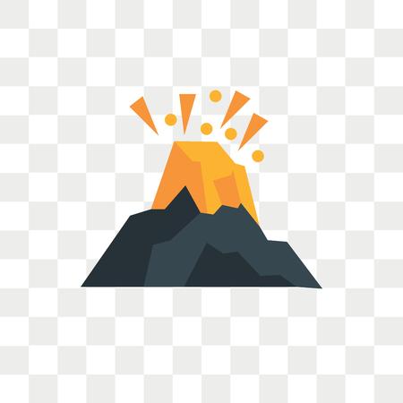 Vulkanvektorikone lokalisiert auf transparentem Hintergrund, Vulkanlogokonzept