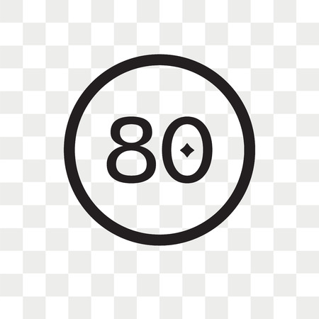 80 Speed Limit vector icon isolated on transparent background, 80 Speed Limit logo concept