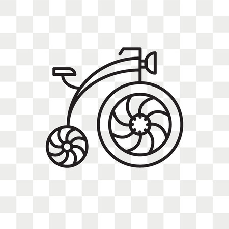 Antique Bicycle vector icon isolated on transparent background, Antique Bicycle logo concept