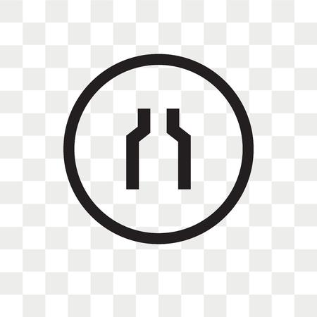 Icône de vecteur de deux voies étroites isolé sur fond transparent, concept logo deux voies étroites