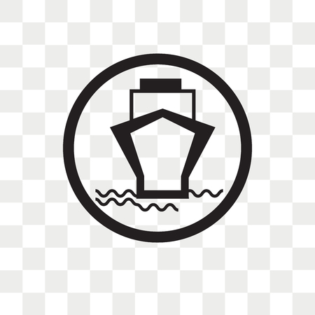 Ferry carrying cars vector icon isolated on transparent background, Ferry carrying cars logo concept