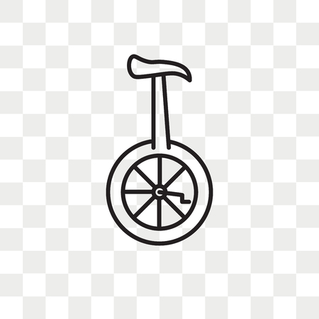 Unicycle vector icon isolated on transparent background, Unicycle logo concept