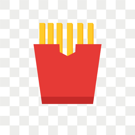 French fries vector icon isolated on transparent background, French fries logo concept Illustration