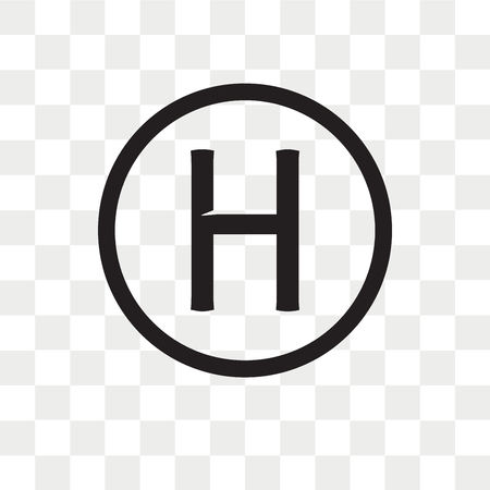 Helipad wektor ikona na białym tle na przezroczystym tle, koncepcja logo Helipad