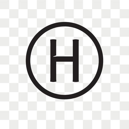 Icono de vector de helipuerto aislado sobre fondo transparente, concepto de logo de helipuerto