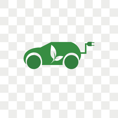 Hybrid car vector icon isolated on transparent background, Hybrid car logo concept
