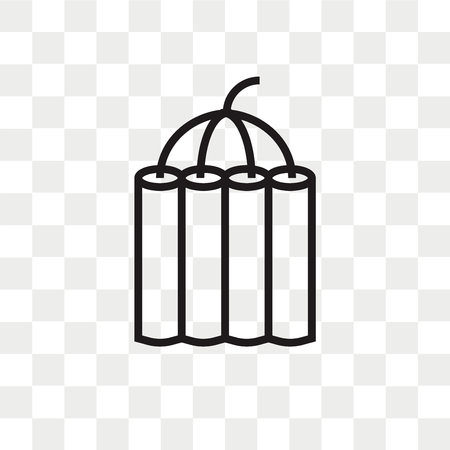 Icono de vector de dinamita aislado sobre fondo transparente, concepto de logo de dinamita