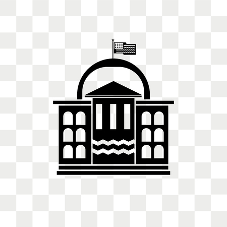 White house vector icon isolated on transparent background, White house logo concept