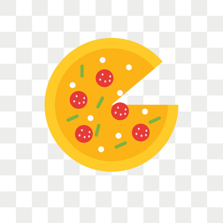 Pizza vector icon isolated on transparent background, Pizza logo concept Vectores