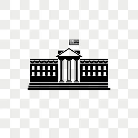 Biały dom wektor ikona na białym tle na przezroczystym tle, koncepcja logo biały dom