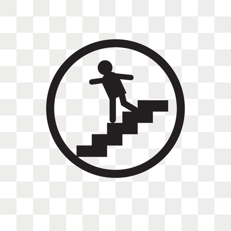 Walking downstairs vector icon isolated on transparent background, Walking downstairs logo concept