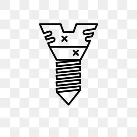 Icona di vettore di vite isolato su sfondo trasparente, concetto di marchio di vite