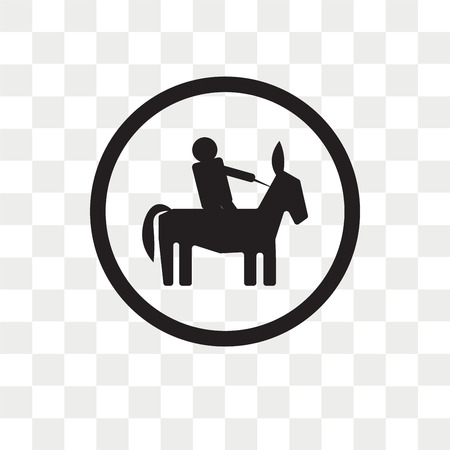 Horse riding vector icon isolated on transparent background, Horse riding logo concept