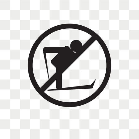 No Skiing vector icon isolated on transparent background, No Skiing logo concept Illustration
