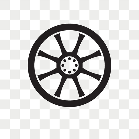 Alloy wheel vector icon isolated on transparent background, Alloy wheel logo concept Vectores