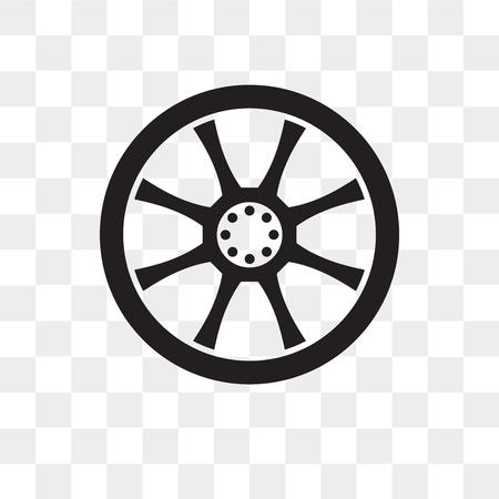 Icône de vecteur de roue en alliage isolé sur fond transparent, concept de logo de roue en alliage