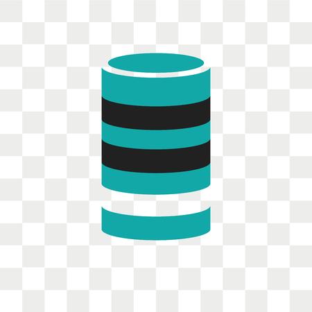 Icône de vecteur de cylindre d'analyse de données isolé sur fond transparent, concept de logo de cylindre d'analyse de données Logo