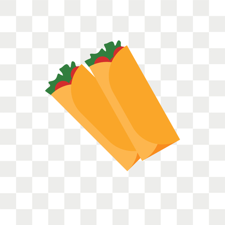 Burrito vector icon isolated on transparent background, Burrito logo concept