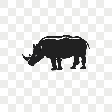Rhinoceros vector icon isolated on transparent background, Rhinoceros logo concept