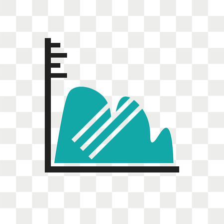 Continuous data graphic wave chart vector icon isolated on transparent background, Continuous data graphic wave chart logo concept