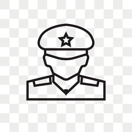 Militar-Vektorikone lokalisiert auf transparentem Hintergrund, Militar-Logo-Konzept