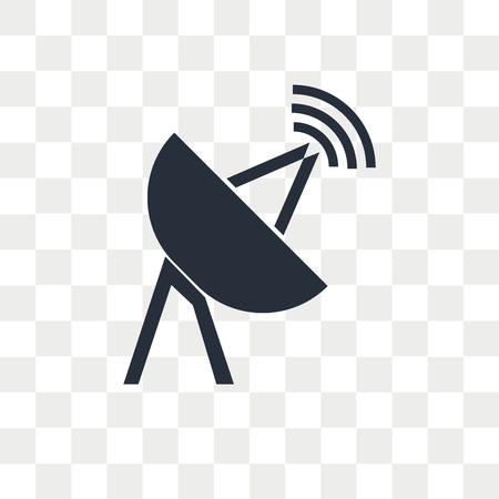Ikona wektor anteny satelitarnej na przezroczystym tle, koncepcja logo anteny satelitarnej