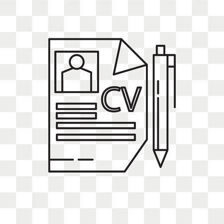 Curriculum vitae vector icon isolated on transparent background, Curriculum vitae logo concept Illustration