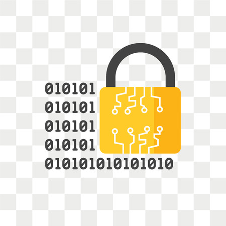 Verschlüsseltes Vektorsymbol lokalisiert auf transparentem Hintergrund, verschlüsseltes Logo-Konzept