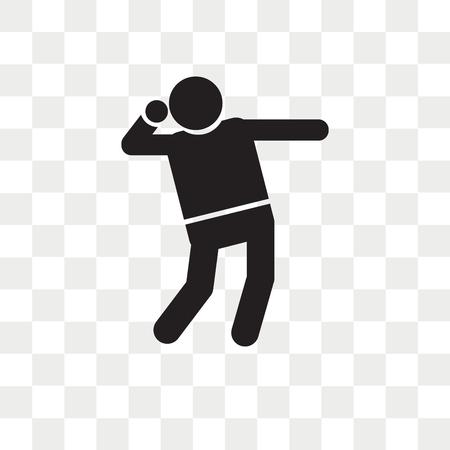 Icono de vector de lanzamiento de bala aislado sobre fondo transparente, concepto de logo de lanzamiento de bala Logos