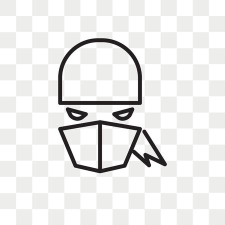 Ninja vector icon isolated on transparent background, Ninja logo concept