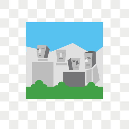 Mount rushmore vector icon isolated on transparent background, Mount rushmore logo concept