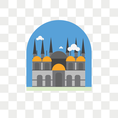 St mark basilica vector icon isolated on transparent background, St mark basilica logo concept Vettoriali
