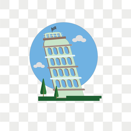 Leaning tower of pisa vector icon isolated on transparent background, Leaning tower of pisa logo concept Illustration